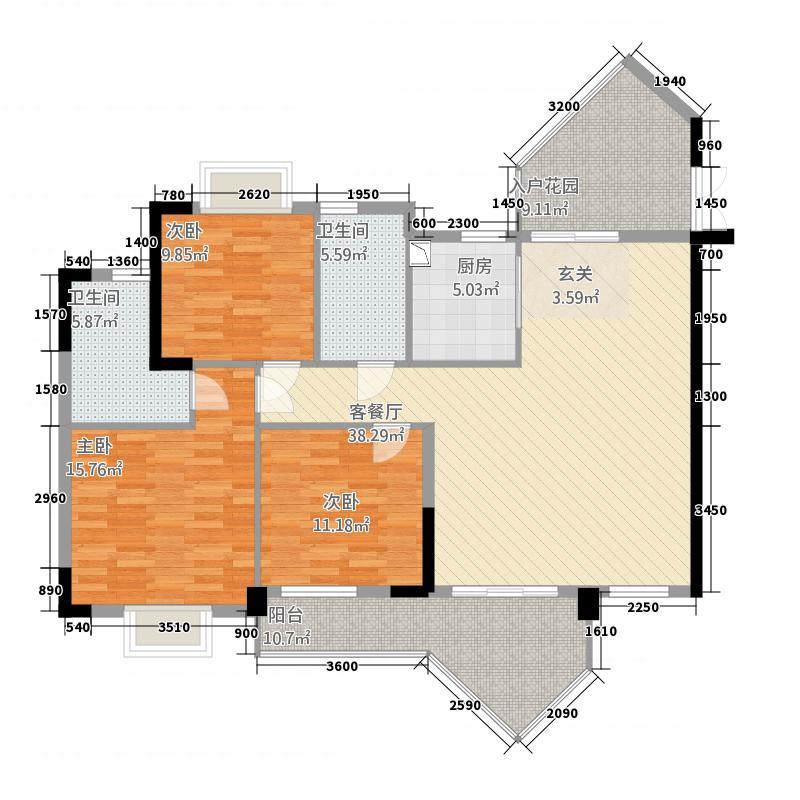 滨海湾1号144.72㎡E2户型3室2厅2卫1厨