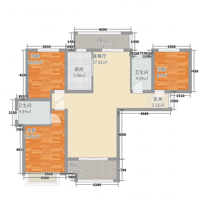 伦达星尚城135.11㎡A户型3室2厅2卫1厨
