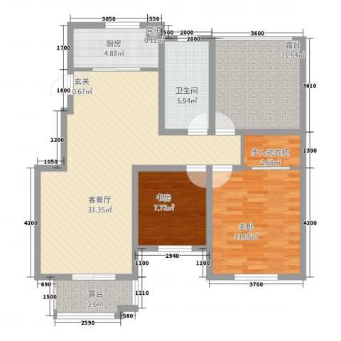 泰和名都2室1厅1卫1厨81.67㎡户型图