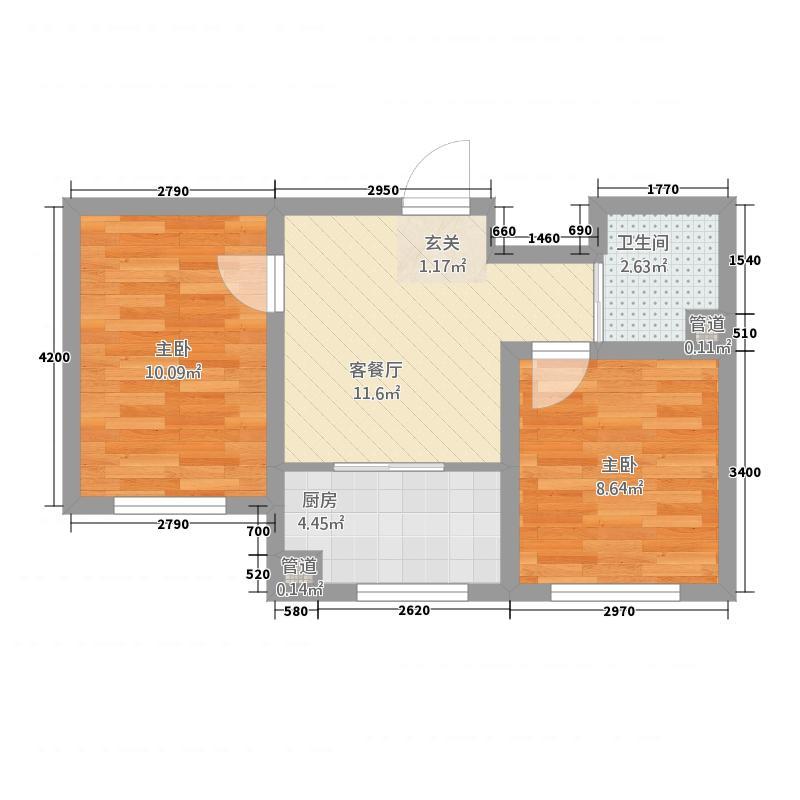 华大城1657.85㎡二期C1#C6#楼D2户型2室1厅1卫1厨