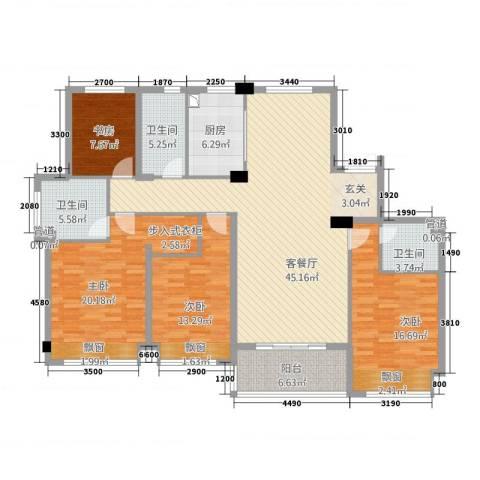 滨江城市之星4室1厅3卫1厨174.00㎡户型图