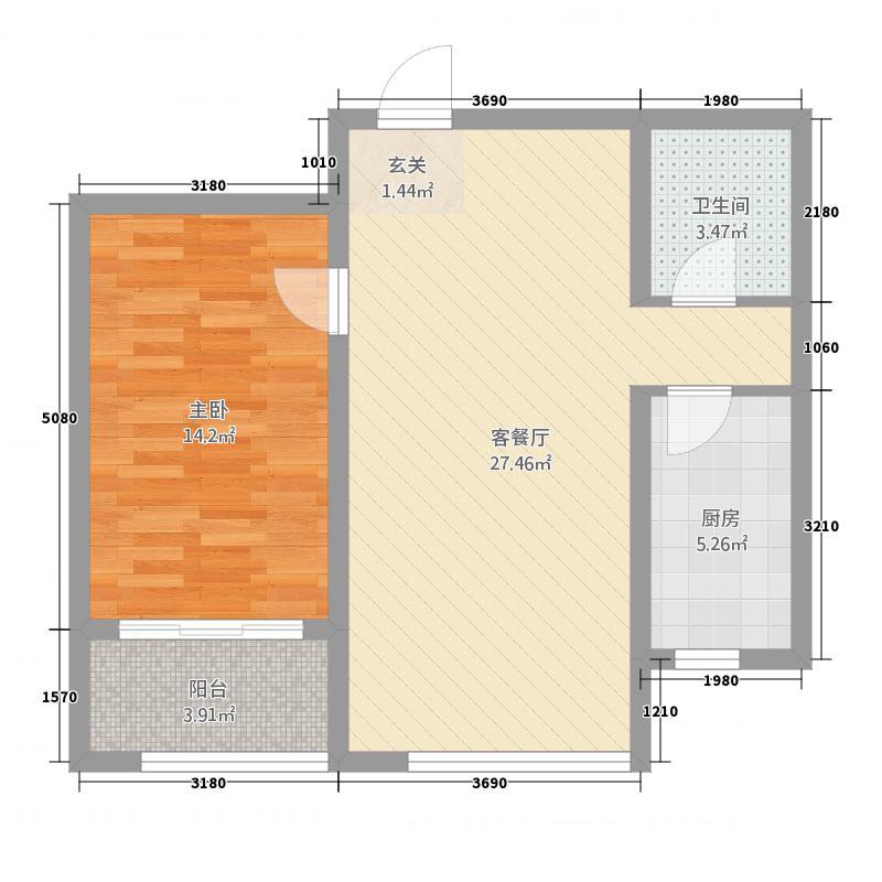 时代国际中心77.66㎡A3户型1室2厅1卫