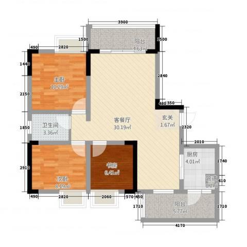 义乌鑫城3室1厅1卫1厨73.04㎡户型图