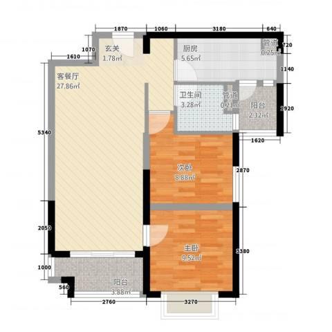 恒大名都2室1厅1卫1厨61.85㎡户型图