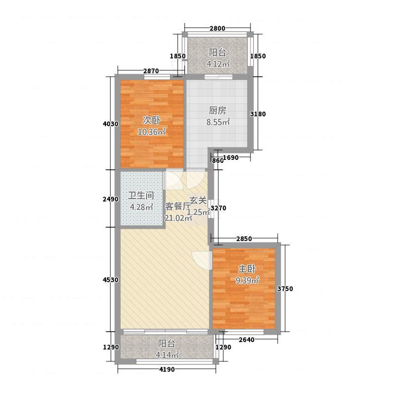 紫金城7.66㎡K户型2室1厅1卫1厨