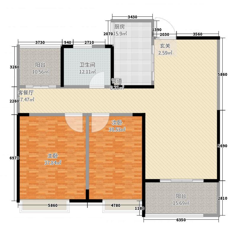 蚌埠新地城市广场288.20㎡B288/户型2室2厅1卫1厨