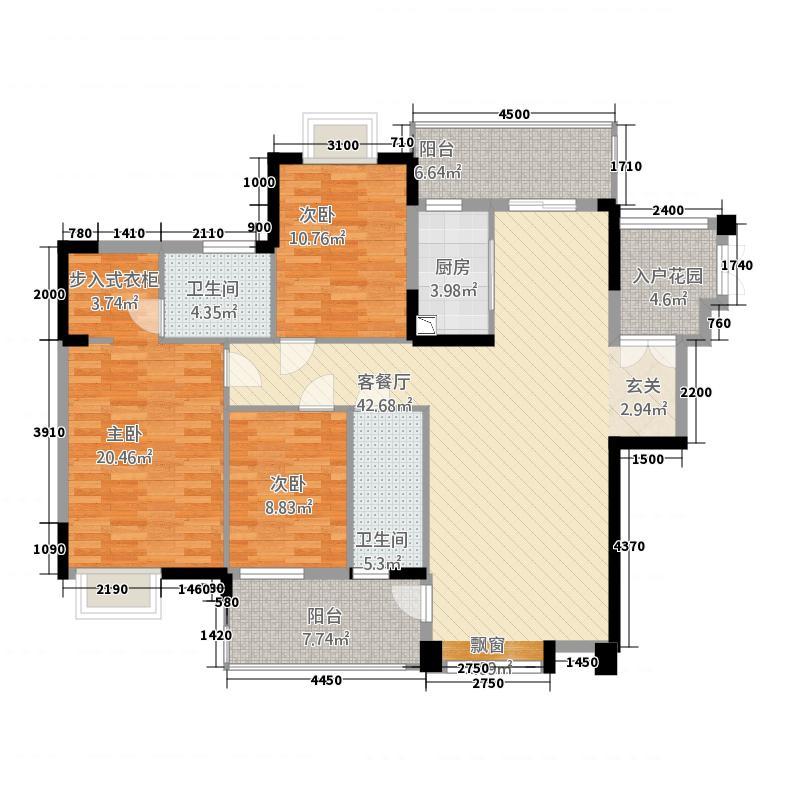 滨海湾1号138.16㎡F3户型3室2厅2卫1厨