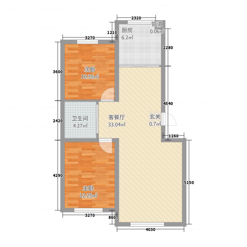 多恩海棠湾86.20㎡三期海棠湾组团A户型2室2厅1卫1厨
