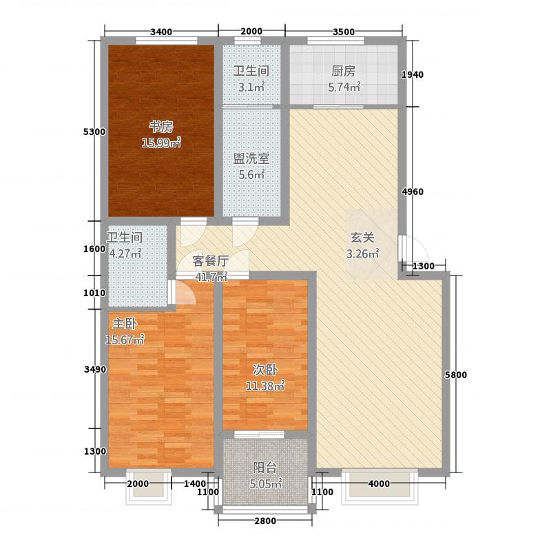 孟津锦绣花园134.62㎡D户型3室2厅1卫1厨
