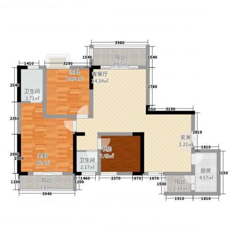义乌鑫城3室1厅2卫1厨89.67㎡户型图