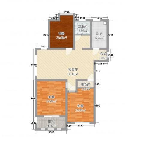 港龙华庭3室1厅1卫1厨117.00㎡户型图