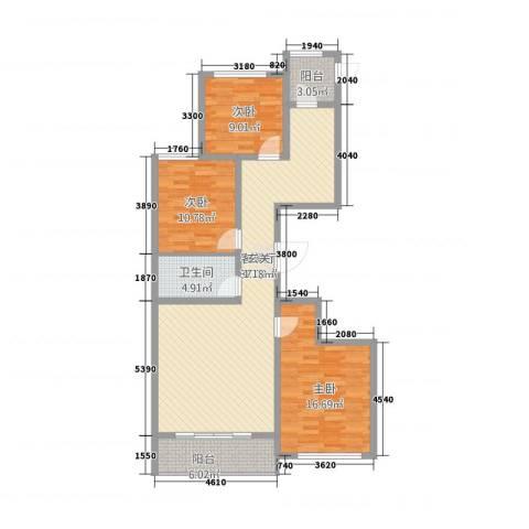 理想城3室1厅1卫0厨126.00㎡户型图