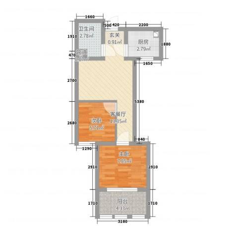 港龙华庭2室1厅1卫1厨56.00㎡户型图