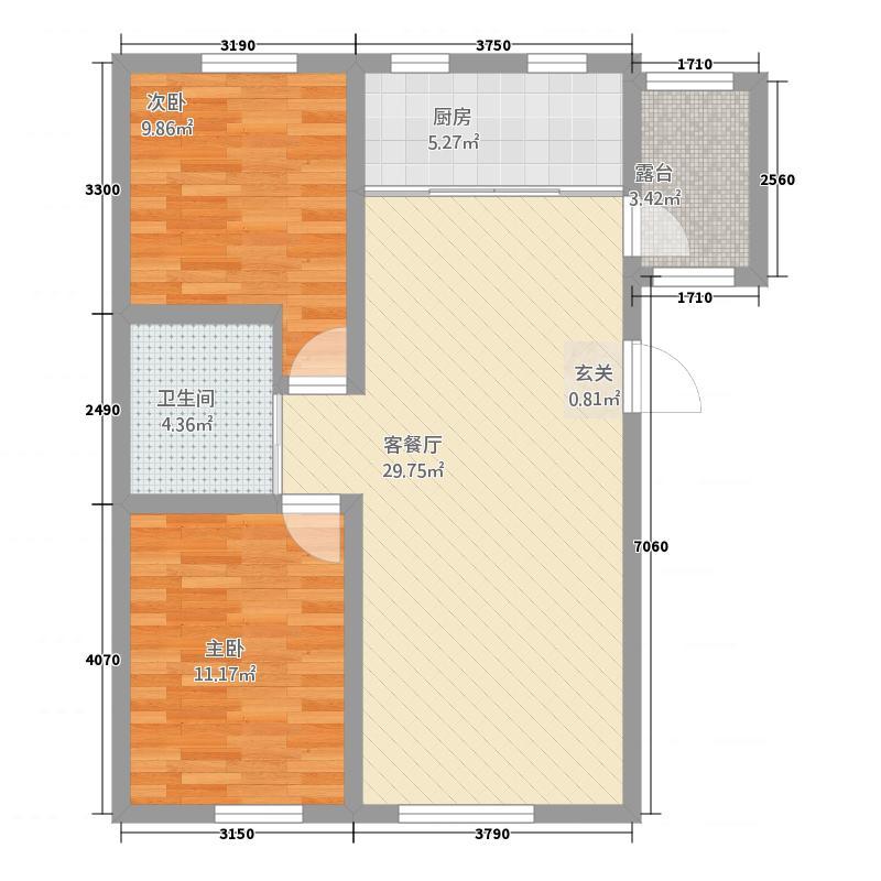 多恩海棠湾87.52㎡三期海棠湾组团D户型2室2厅1卫1厨