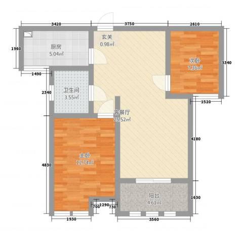 港龙华庭2室1厅1卫1厨87.00㎡户型图