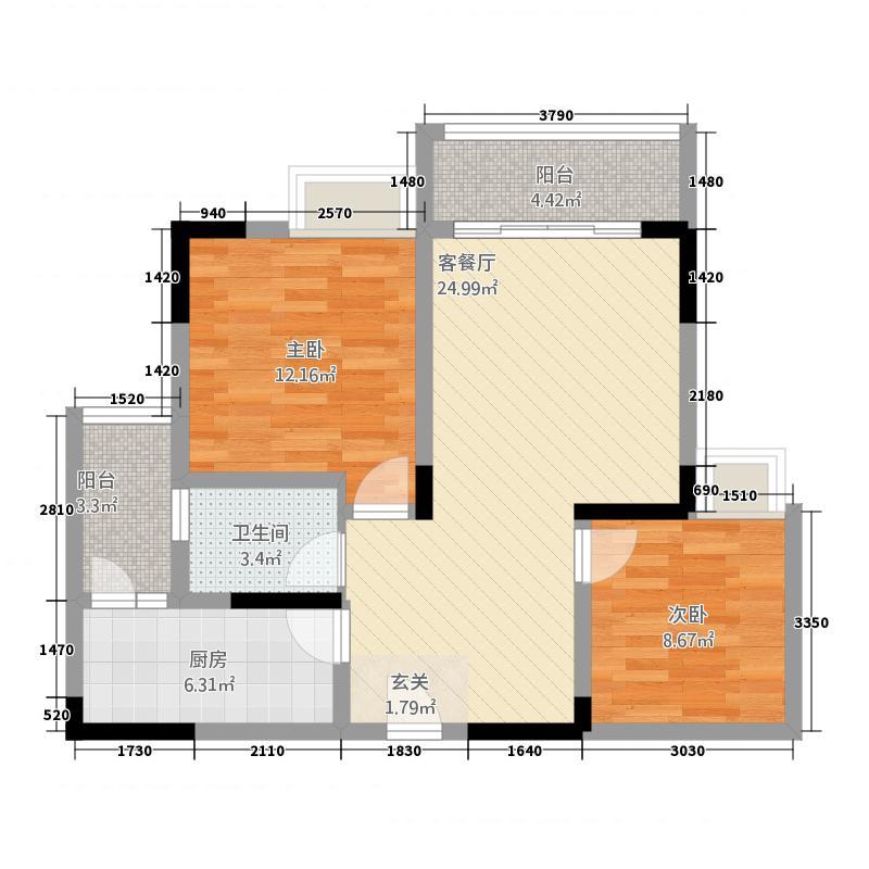 义乌鑫城82.62㎡A2户型2室2厅1卫1厨