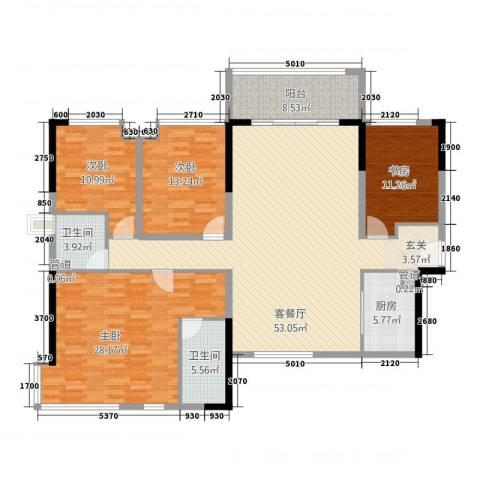 世纪城国际公馆三期4室1厅2卫1厨196.00㎡户型图
