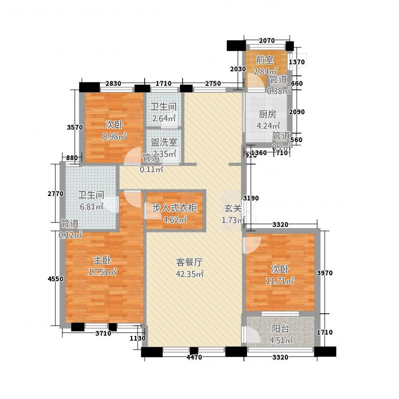 康桥名城162.20㎡二期平墅B户型3室2厅2卫1厨