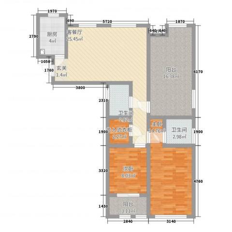 港龙华庭2室1厅2卫1厨118.00㎡户型图