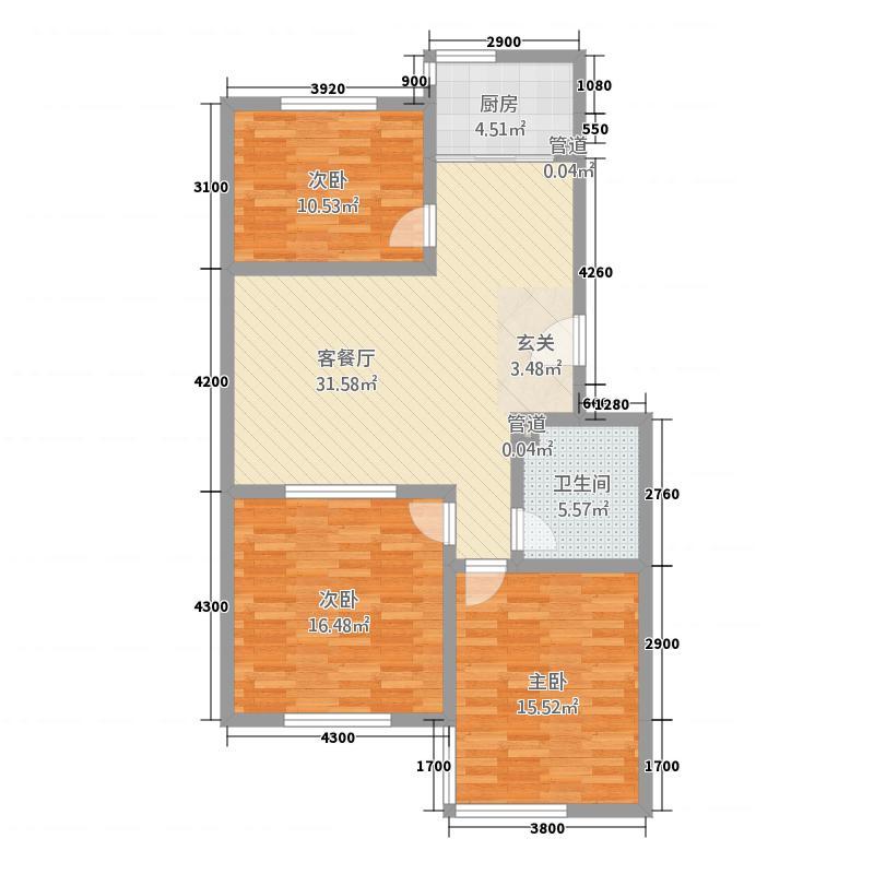 中惠丽园11.45㎡3户型3室2厅