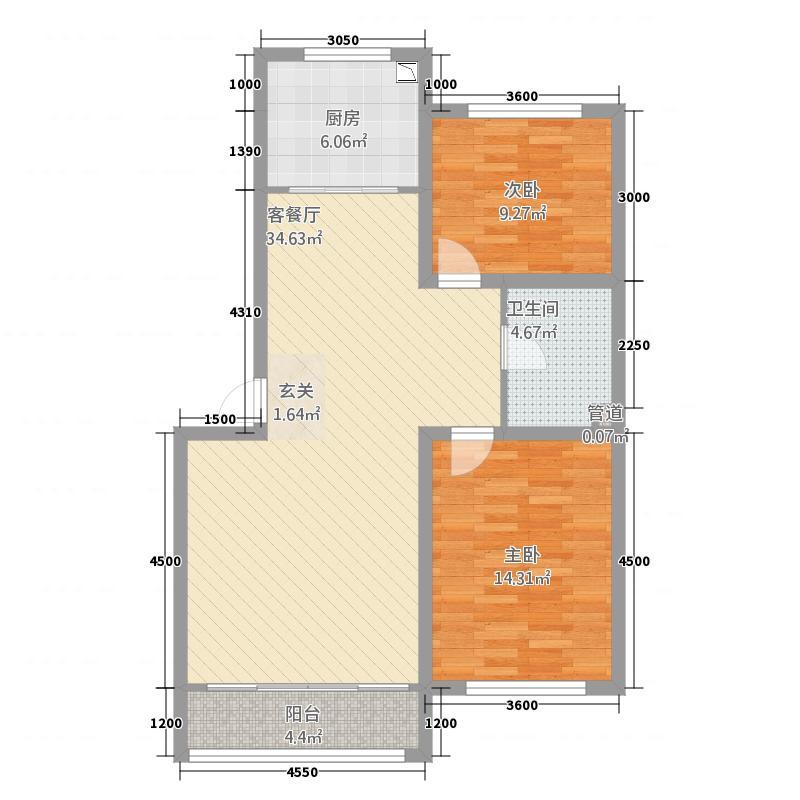 孟家新村65.00㎡户型2室2厅1卫