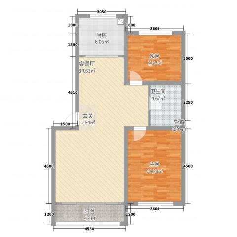 孟家新村2室1厅1卫1厨73.41㎡户型图