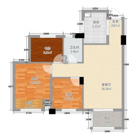 滨江城市之星3室1厅1卫1厨64.68㎡户型图