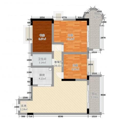香港街3室1厅1卫1厨118.00㎡户型图