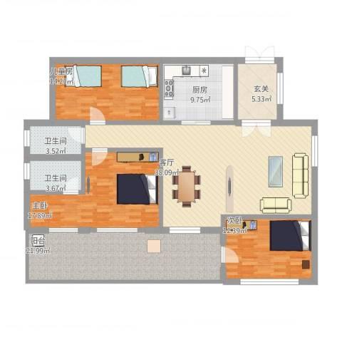 六和城3室1厅2卫1厨181.00㎡户型图