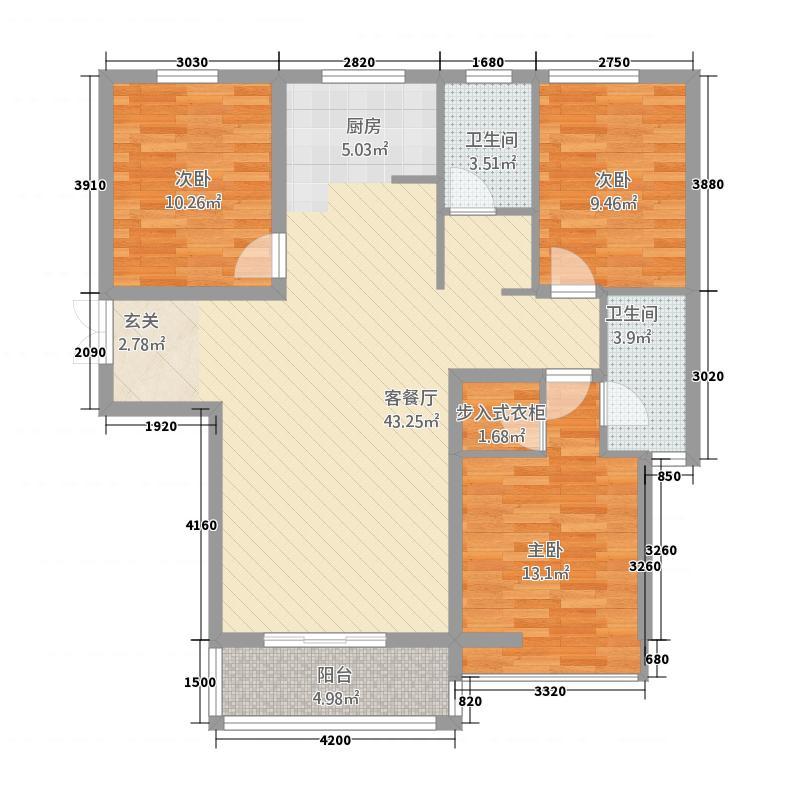 景苑家园3125.51㎡二期3号楼标准层G户型3室2厅2卫1厨