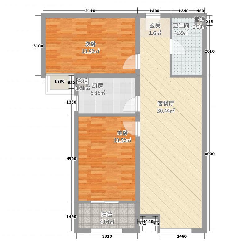 大秦左岸22.42㎡E户型2室2厅1卫