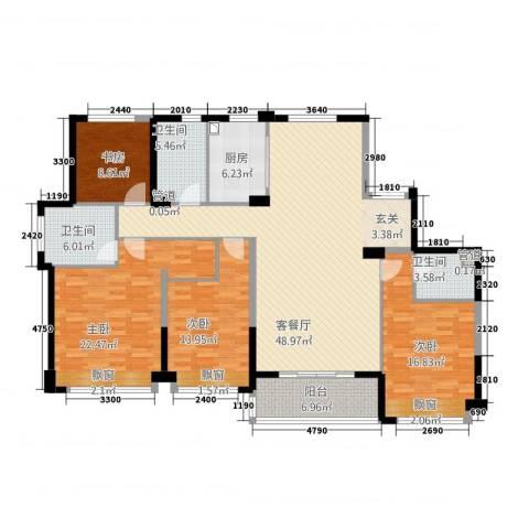 滨江城市之星4室1厅3卫1厨182.00㎡户型图