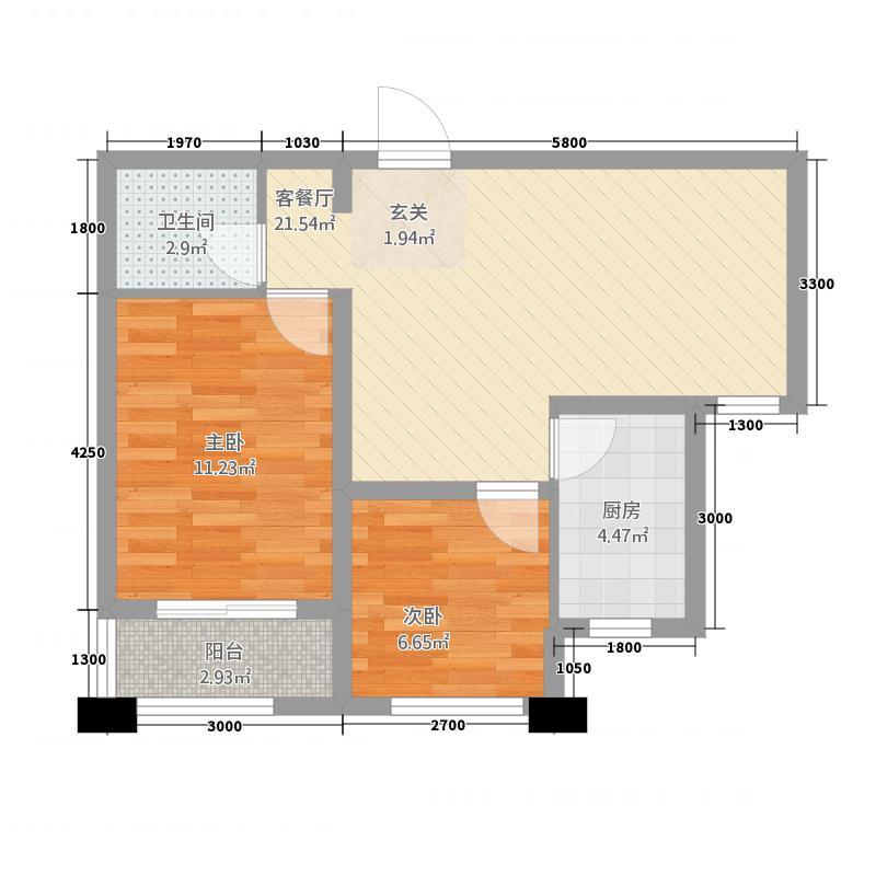 环岛花园3274.32㎡3#H户型2室2厅1卫1厨
