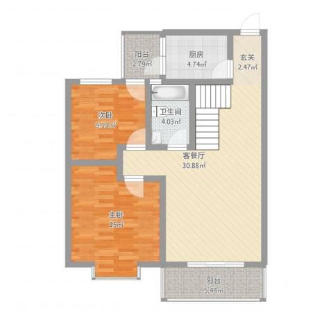 江岸山景2室1厅1卫1厨104.00㎡户型图
