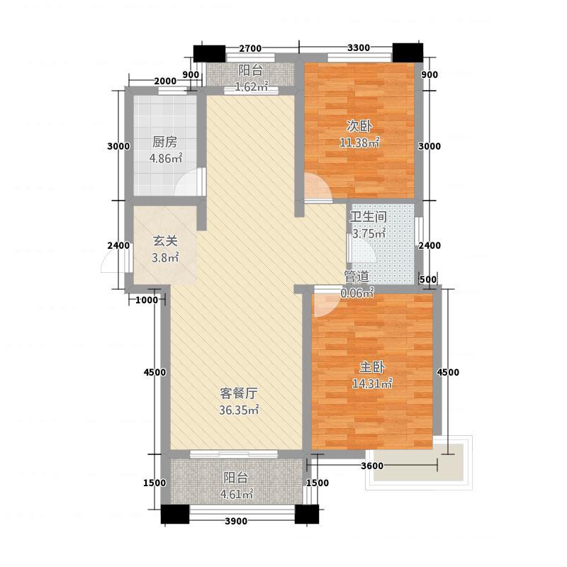 环岛花园12114.32㎡1#C户型2室2厅1卫1厨