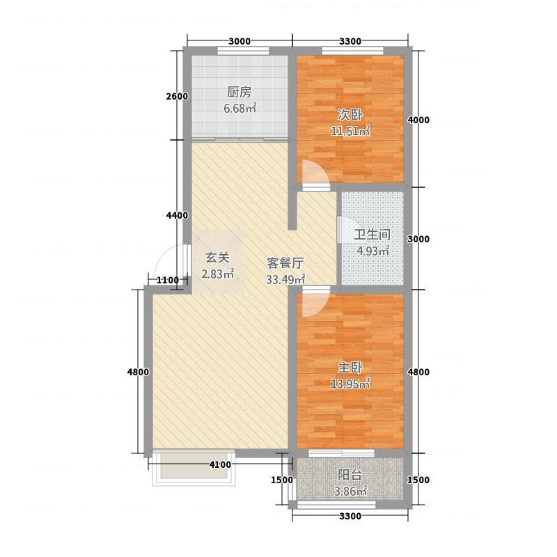 环岛花园321.61㎡3#J户型2室2厅1卫1厨