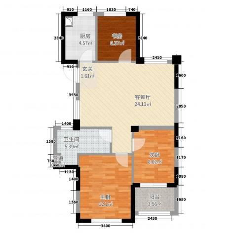 滨江城市之星3室1厅1卫1厨88.00㎡户型图