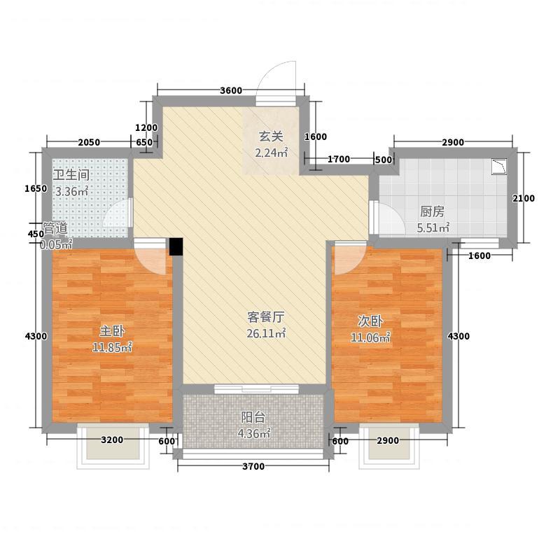 宝恒水木清华2681.20㎡G26中间户户型2室2厅1卫1厨