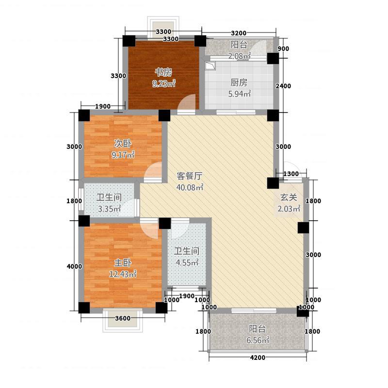 桃园新城115.17㎡3#E-户型3室2厅2卫