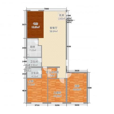 壹江南3室1厅2卫1厨173.00㎡户型图