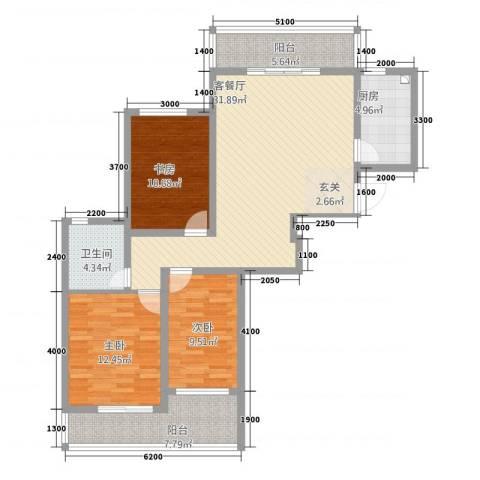 宝恒水木清华3室1厅1卫1厨26121.00㎡户型图