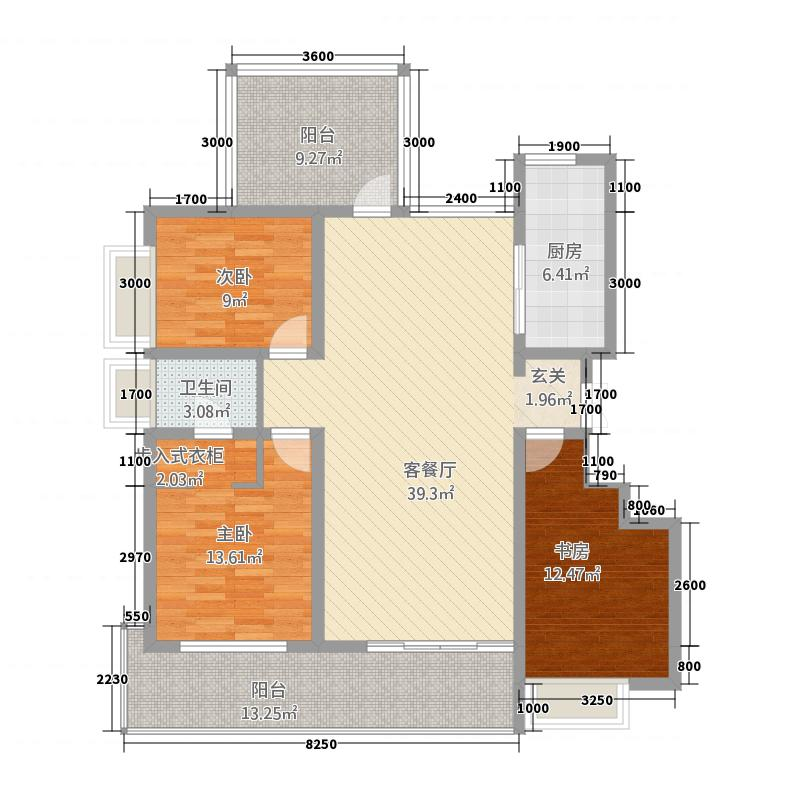 宝恒水木清华122.20㎡小高层标准层户型3室2厅2卫1厨