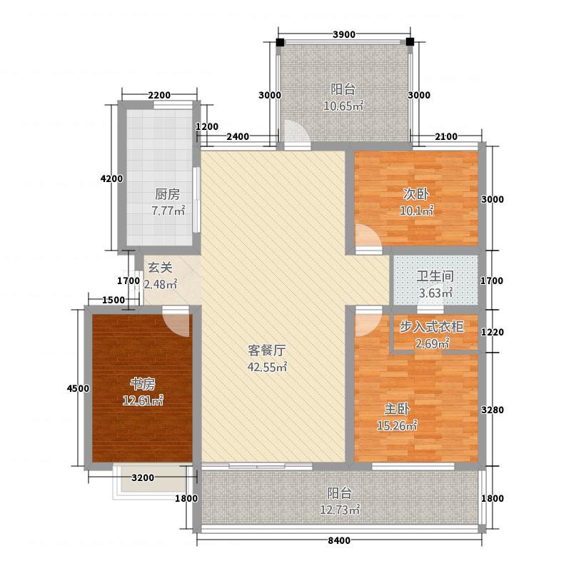 宝恒水木清华128.20㎡多层标准层户型3室2厅2卫1厨