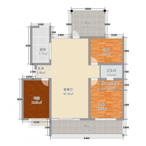 宝恒水木清华3室1厅1卫1厨128.00㎡户型图