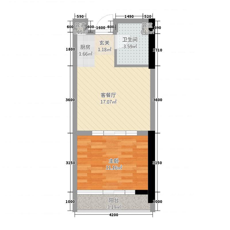 誉峰・财富中心55.75㎡C户型1室1厅1卫1厨