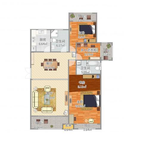 绿地苏河源2室2厅2卫1厨154.00㎡户型图