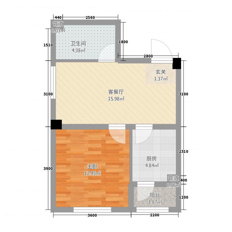 铂金湾115.32㎡1单元A1室户型1室1厅1卫1厨
