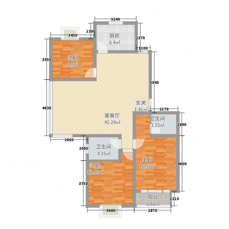 丽湖馨居138.00㎡户型3室