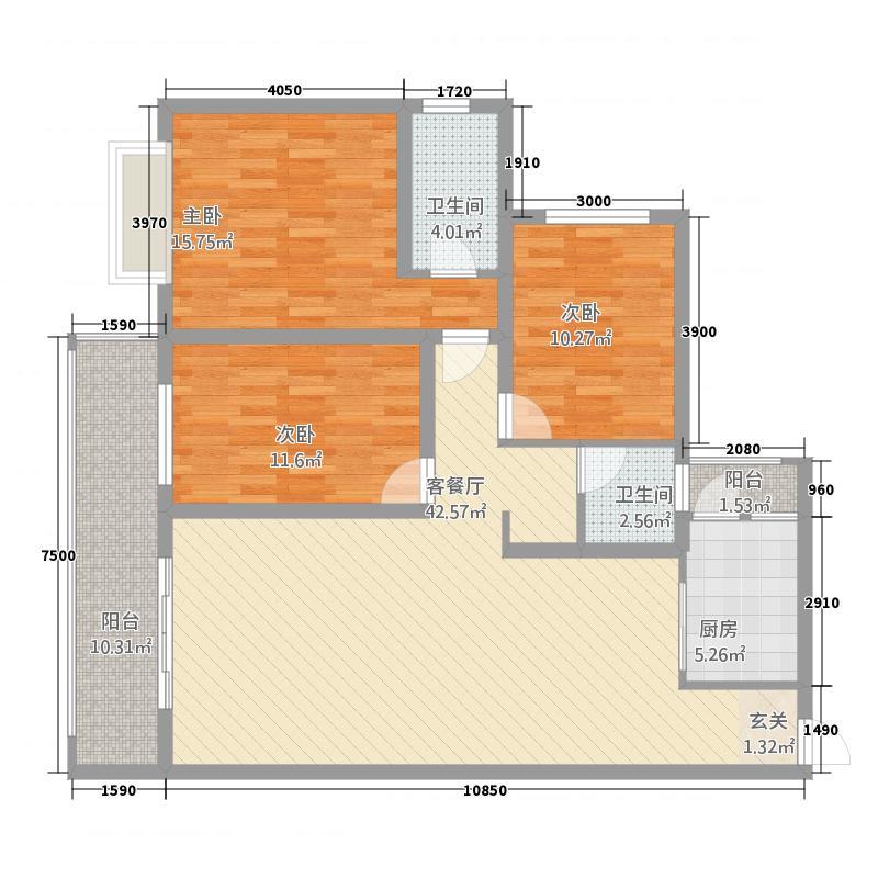 怀化书香美域131.52㎡户型3室2厅2卫1厨