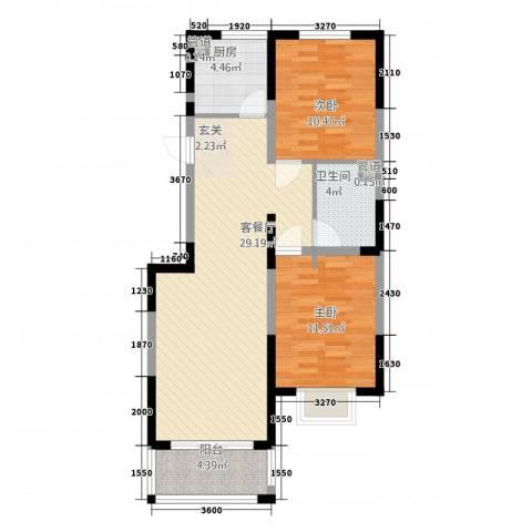 芳清苑2室1厅1卫1厨92.00㎡户型图